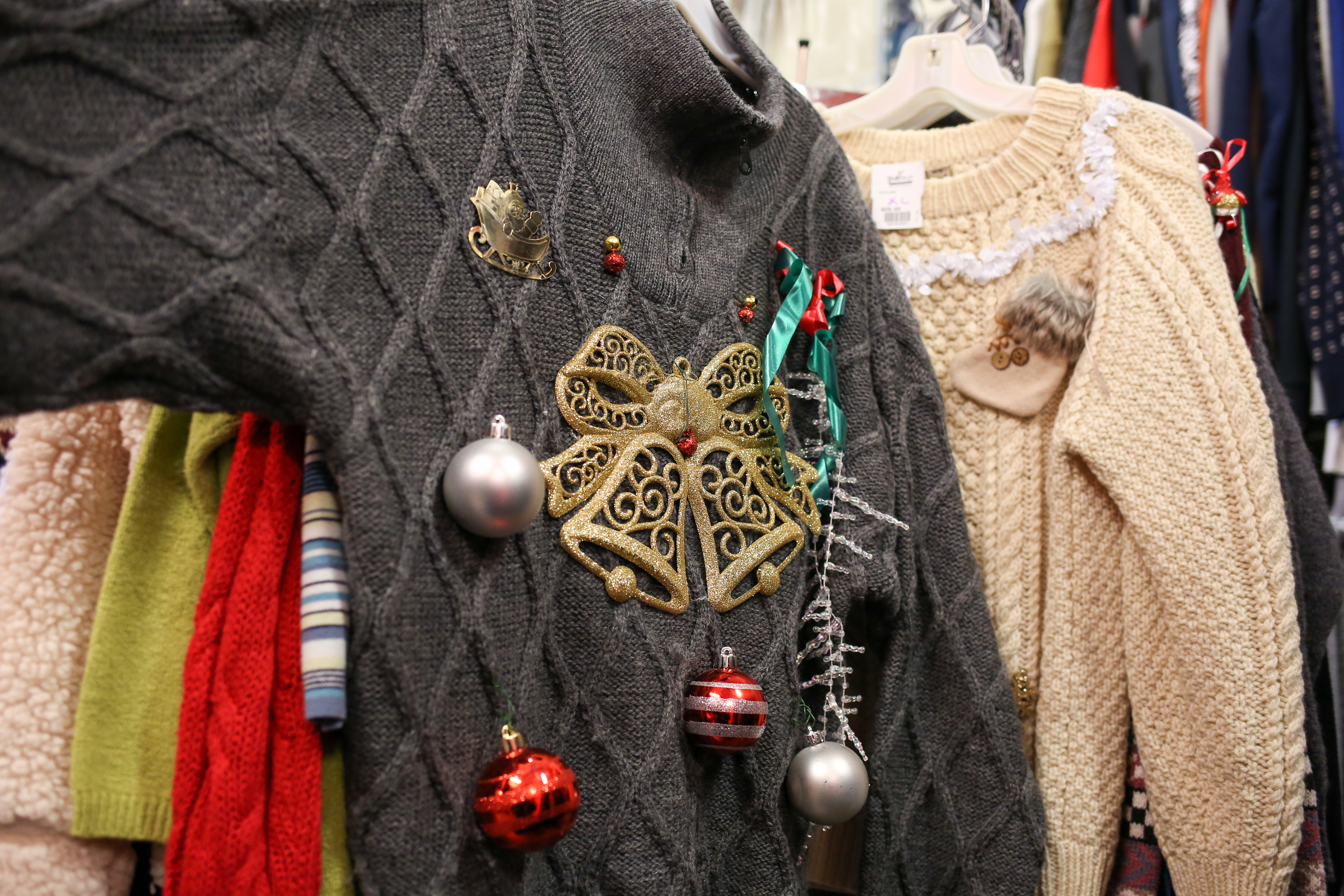 'Tis the season to desperately hunt around for something to wear to an ugly Christmas sweater party. Fortunately, there are plenty of options to scope out in D.C. stores - here were the ugliest options we found. Buffalo Exchange,{&amp;nbsp;}1318 14th St NW - $28 (Amanda Andrade-Rhoades/DC Refined)<p></p>